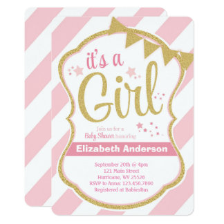 Girl Glitter Star Baby Shower Invitation