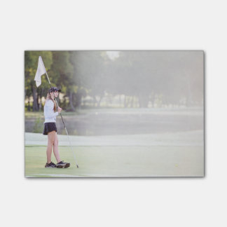 Girl Golfer in Dreamy Morning Mist Post-it Notes
