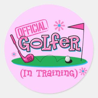 Girl Golfer In Training Round Sticker