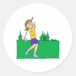 Girl Golfers Classic Round Sticker