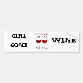 """""""GIRL GONE WINE"""" FUN WINE PRINT BUMPER STICKER"""