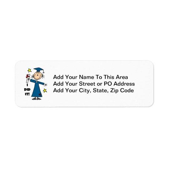 Girl Graduate Return Address Label