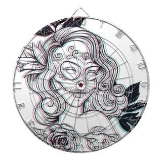 girl graphic illustration dart board