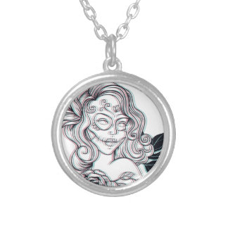 girl graphic illustration silver plated necklace