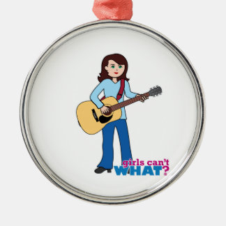 Girl Guitar Player Silver-Colored Round Ornament