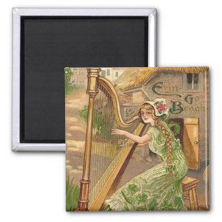 Girl Harp Rose Shamrock Erin Go Braugh Magnet