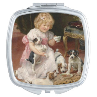 Girl Having Tea Party with Puppies, Mirror For Makeup