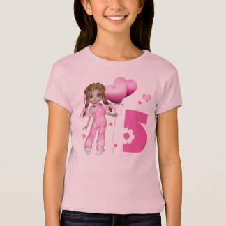 Girl Hearts 5th Birthday T-Shirt
