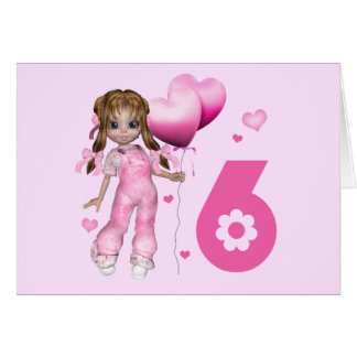 Girl Hearts 6th Birthday Note Card