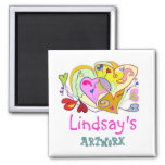 Girl Hearts Personalized Artwork Magnet
