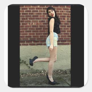 Girl Heels Sun Model Sticker Brick Wall Red