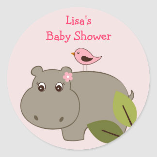 Girl Hippo Envelope Seals Stickers