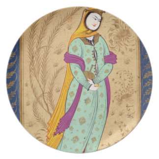 Girl holding a wine vessel and a pear, from the La Plate