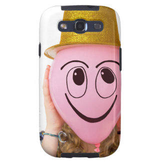 Girl holding balloon with smiling face and hat galaxy s3 case