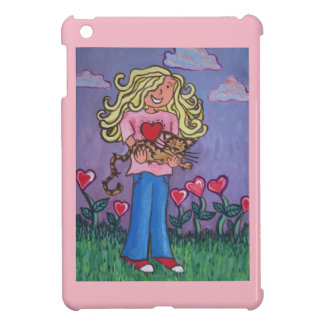 girl holding cat i-pad mini cover for the iPad mini