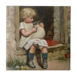 Girl Holding Cute Puppy Vintage