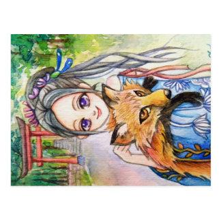 Girl Holding Fox Postcard