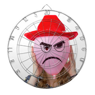 Girl holding pink balloon with angry face and hat dartboard