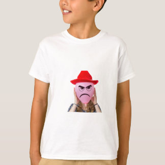 Girl holding pink balloon with angry face and hat T-Shirt