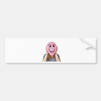 Girl holding pink balloon with smiling face bumper sticker