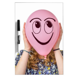 Girl holding pink balloon with smiling face dry erase boards