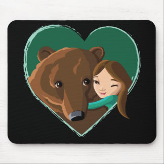 Girl Hugging Bear Mouse Pad