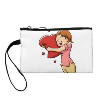 Girl hugging heart coin wallets