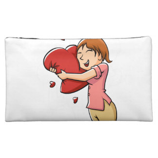 Girl hugging heart cosmetics bags