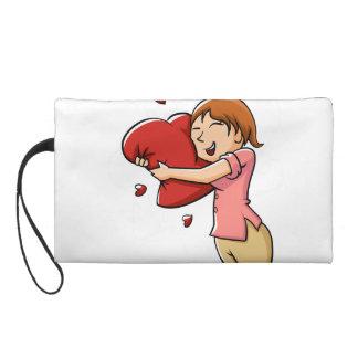 Girl hugging heart wristlet clutch