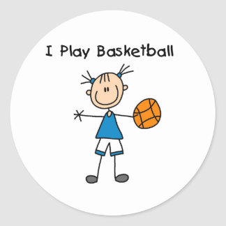 Girl I Play Basketball Classic Round Sticker