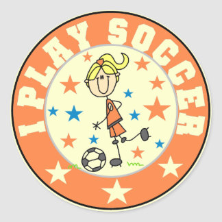Girl I Play Soccer T-shirts and Gifts Classic Round Sticker