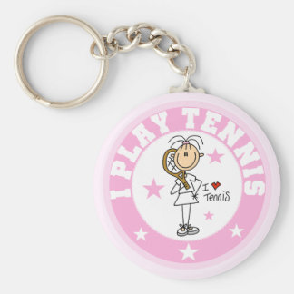 Girl I Play Tennis Tshirts and gifts Basic Round Button Keychain