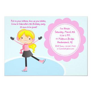 Girl Ice Skating Pink Birthday Invitation