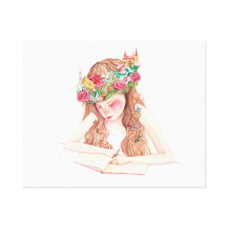 Girl imagination, writing canvas print