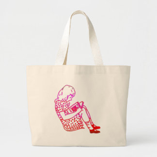 Girl in a dress, reading large tote bag