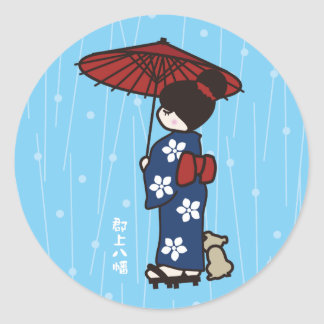 Girl in a kimono in the rain classic round sticker