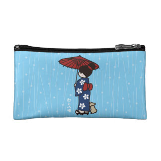 Girl in a kimono in the rain cosmetic bag
