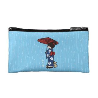 Girl in a kimono in the rain cosmetic bag