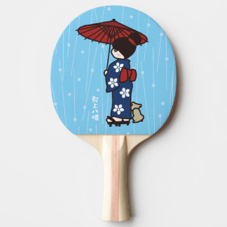 Girl in a kimono in the rain ping pong paddle