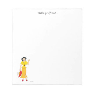 Girl in a yellow dress notepad