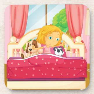 Girl in bed getting up coasters