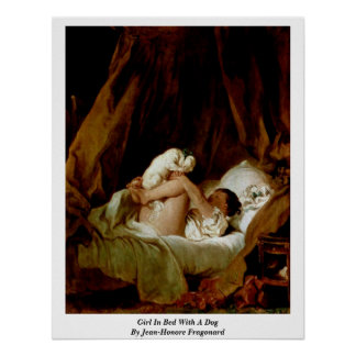 Girl In Bed With A Dog By Jean-Honore Fragonard Poster