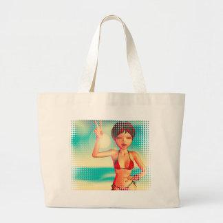 Girl in Bikini on Beach 2 Jumbo Tote Bag