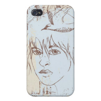 Girl in Blue Case For iPhone 4