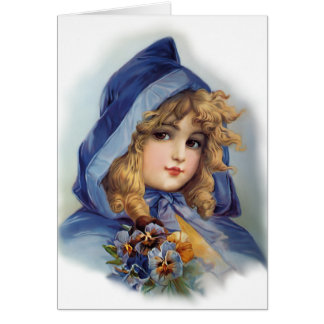 Girl in Blue Hood Card