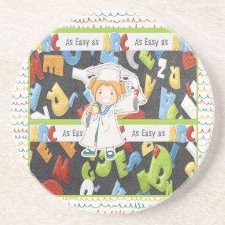 Girl in Cap and Gown with Diploma on ABC Coaster