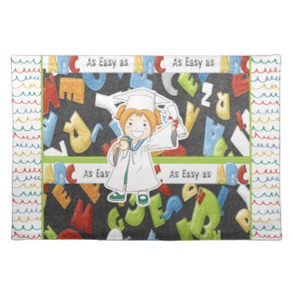 Girl in Cap and Gown with Diploma on ABC Placemat