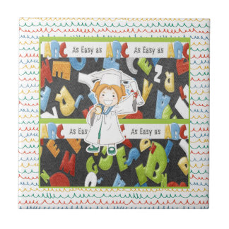 Girl in Cap and Gown with Diploma on ABC Tile