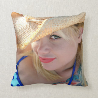 Girl in Cowboy Hat - Youth Throw Pillow