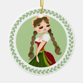 Girl in Dirndl Ceramic Ornament